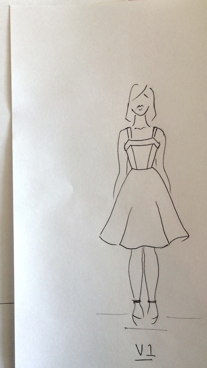 Charlie Dress Sewing Pattern original sketch - by hand london