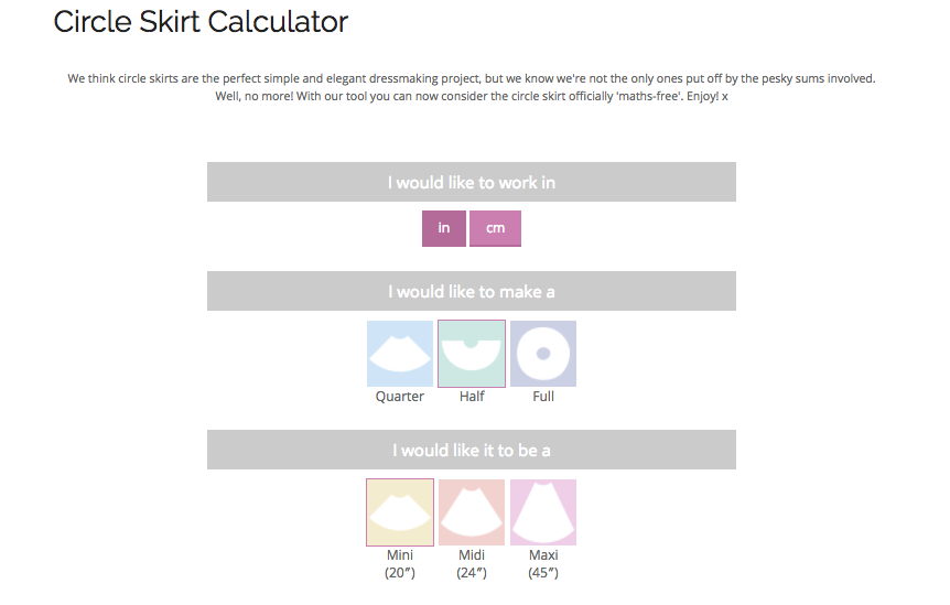 Circle Skirt Calculator - By Hand London