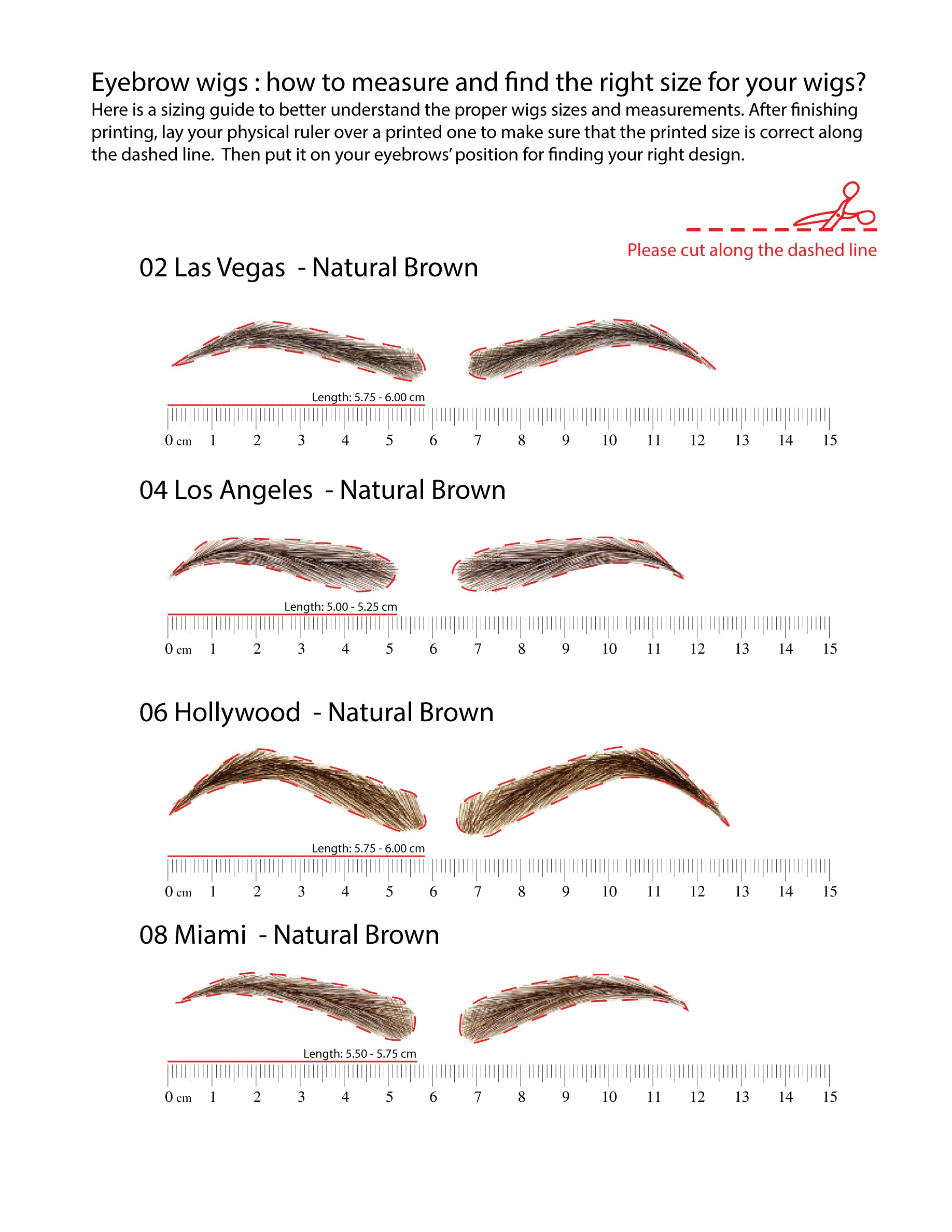 Eyebrow Wigs Sizing Brown