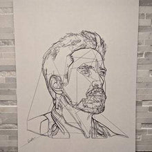 Load image into Gallery viewer, Tony Stark Iron Man Portrait || single one line pen drawing