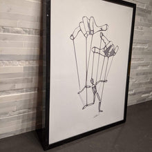 Load image into Gallery viewer, Minimalistic single line art of a puppet man being controlled by strings attached to two hands.