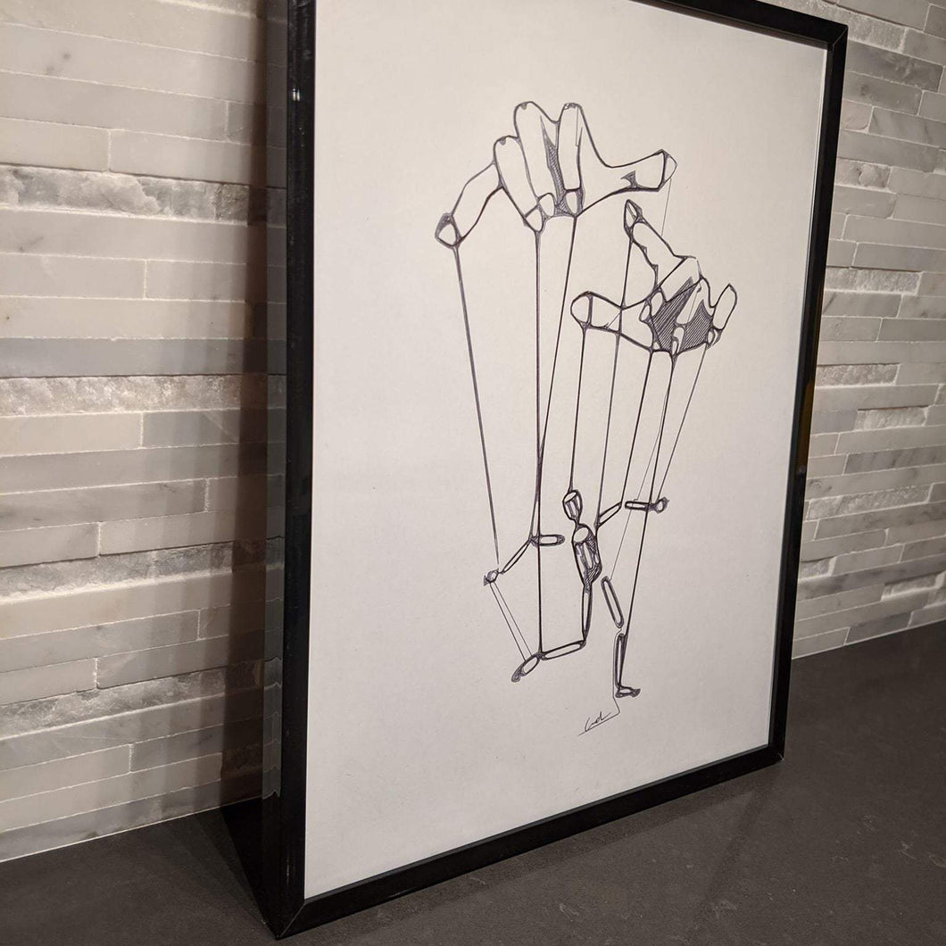 Minimalistic single line art of a puppet man being controlled by strings attached to two hands.
