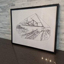 Load image into Gallery viewer, The Basketball Gym || Abstract Architecture || single one line pen drawing