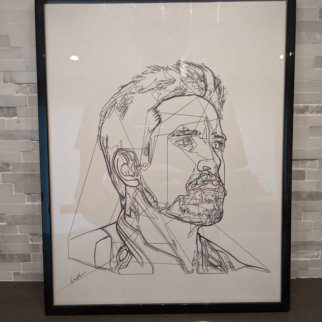 Tony Stark Iron Man Portrait || single one line pen drawing
