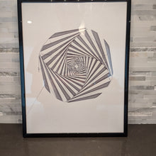 Load image into Gallery viewer, Minimalist single line art of optical illusion abstract spiral in pen.