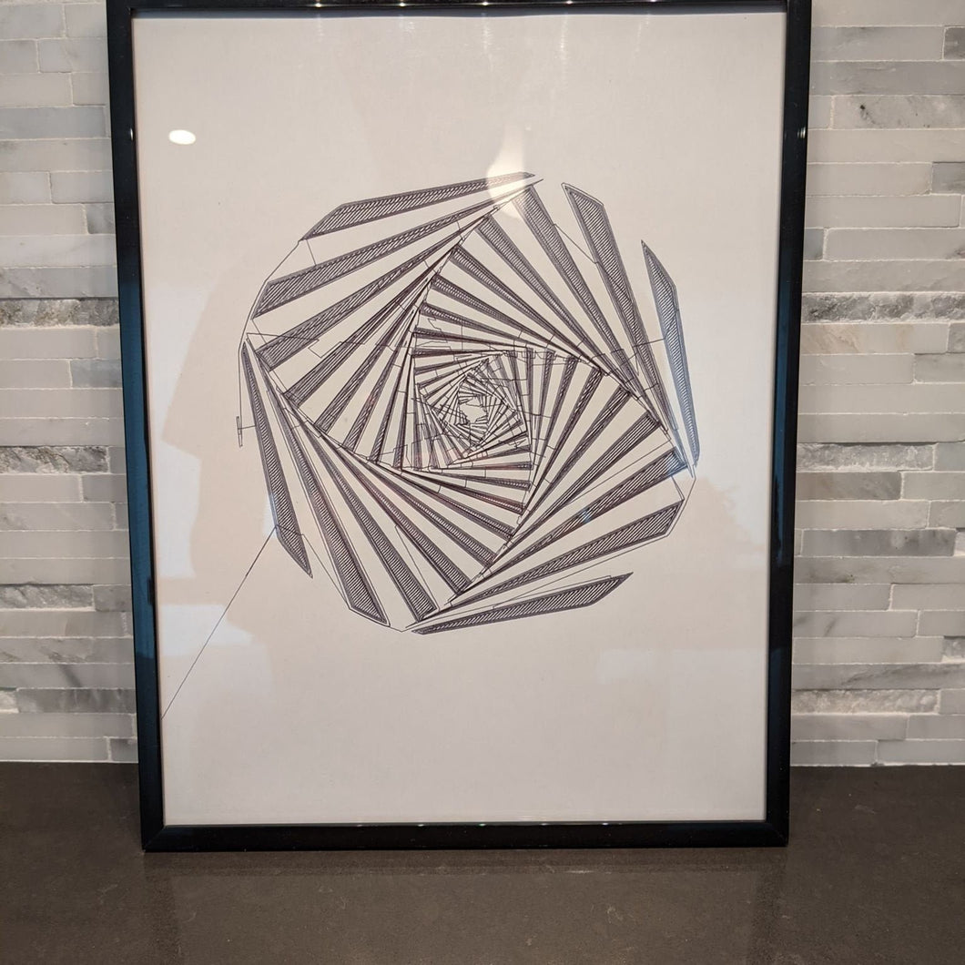 Minimalist single line art of optical illusion abstract spiral in pen.