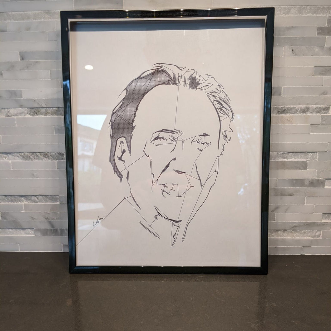 Nicolas Cage Abstract Face Portrait || single one line pen drawing - Casual Chicken