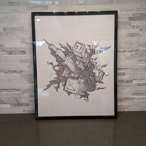 Downtown Skyscrapers Abstract Art || single one line pen drawing - Casual Chicken