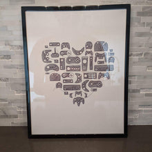 Load image into Gallery viewer, video game controllers and console artwork, minimalist single line art, framed