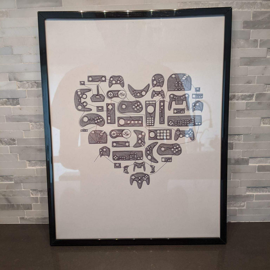 video game controllers and console artwork, minimalist single line art, framed
