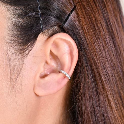 Delicate Diamond Ear Cuff in Silver