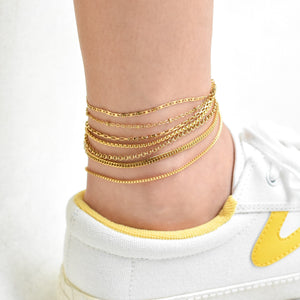 Beaded Thin Cable Chain Anklet