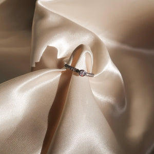 Center Diamond Ring in Silver