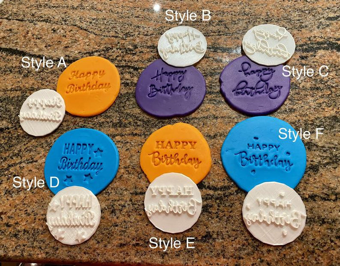 Happy Birthday Fondant Embossers/Stamps - Made in Canada