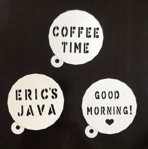 Custom Coffee / Latte Stencil - Choose Your Text / Personalized / Create Your Own - Made in Canada