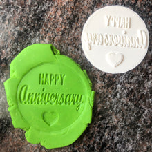Load image into Gallery viewer, Happy Anniversary Cake Fondant Embosser / Cookie Stamp - 3D Printed - Made in Canada