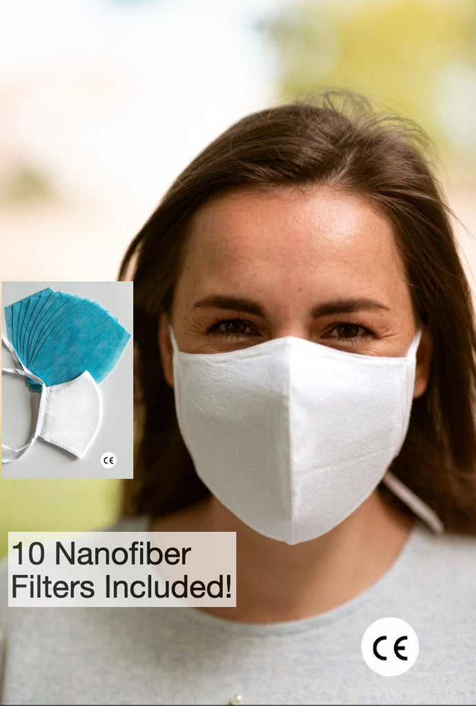 CE Certified 99%+ Filter Efficiency Adjustable Face Mask with 5 Filter Inserts Included - High Quality Fabric With Filter Pocket & Nose Wire