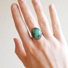 Load image into Gallery viewer, Oval Turquoise & Sterling Silver Statement Ring - Size 8