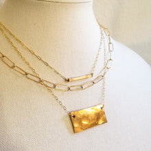 Load image into Gallery viewer, Hammered Bronze Tag Necklace