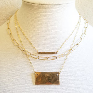 Hammered Bronze Tag Necklace