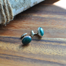 Load image into Gallery viewer, Oval Green Onyx Cuff Links