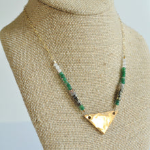 Load image into Gallery viewer, Beaded Bronze Triangle Necklace