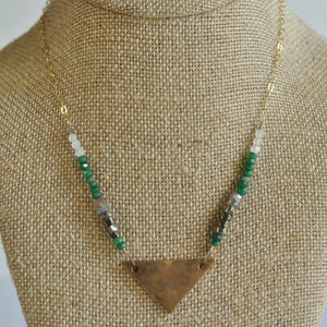 Beaded Bronze Triangle Necklace