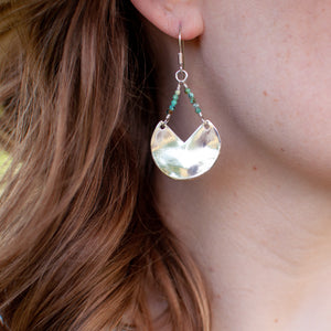 Faceted Chrysoprase Sector Earrings