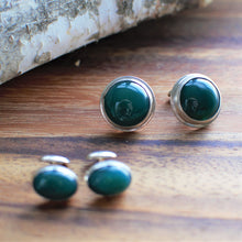 Load image into Gallery viewer, Round Green Onyx and Sterling Cuff Links