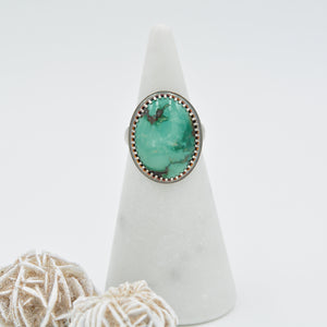 Oval Turquoise & Sterling Silver Statement Ring - Size 8
