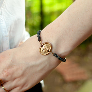 Bronze Antique Monogram Wax Seal Stamp Bracelet - Iolite