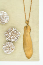 Load image into Gallery viewer, Large Bronze Feather Necklace