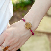 Load image into Gallery viewer, Bronze Laurel Wax Seal Bracelet - Ruby