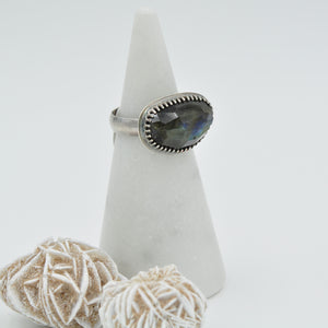 Faceted Labradorite Ring - Wide Band - Size 8