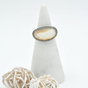 Mother of Pearl Statement Ring with Decorative Band - Size 7