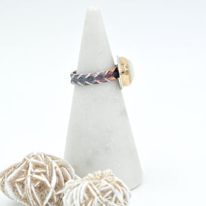Two Tone Mother of Pearl Ring with Decorative Band - Size 7