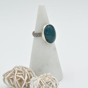 Oval Green Onyx Ring - Size 7