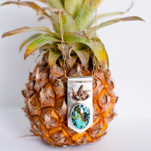 Load image into Gallery viewer, Pineapple and Kingman Turquoise Banner Necklace