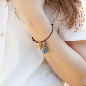 Leather Bracelet with Tassel and Arrowhead Charm