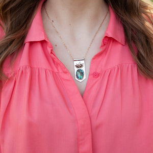 Pineapple and Kingman Turquoise Banner Necklace