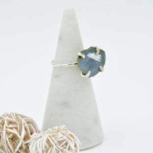 Little Blue/Grey Geode Ring - Size 7