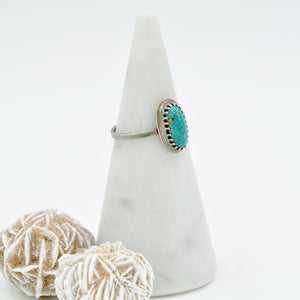 Turquoise & Sterling Silver Stacker Ring - Size 8