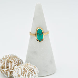 Turquoise & Gold-Fill Stacker Ring - Size 8.5