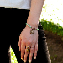 Load image into Gallery viewer, Chrysoprase Bracelet with Bronze Wax Seal Charm