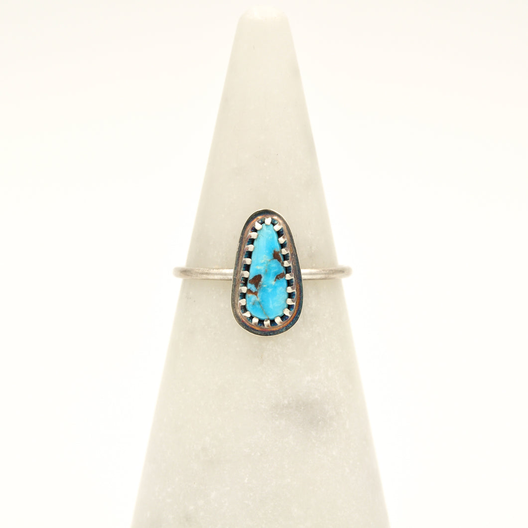 Turquoise & Sterling Silver Stacker Ring - Size 7