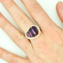 Load image into Gallery viewer, Mixed Metal Faceted Fluorite Ring - Size 8