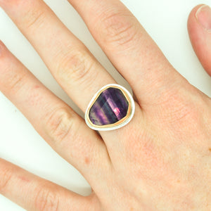 Mixed Metal Faceted Fluorite Ring - Size 8