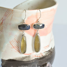 Load image into Gallery viewer, Blue and Yellow Sapphire Drop Earrings