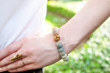 Load image into Gallery viewer, Gold Druzy, Moonstone & Apatite Chunky Bracelet
