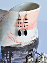 Load image into Gallery viewer, Black Spinel Beaded Dangle Earrings
